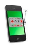 Online casinoconcept. Gokautomaat binnen Mobiele Telefoon Stock Afbeelding