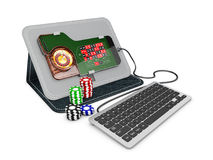 Online Casinoroulette met keyboabrd en spaanders 3D Illustratie Royalty-vrije Stock Foto
