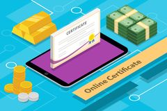 Online certification concept isometric 3d with apps tablet and money. Vector graphic illustration Stock Photography