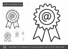 Online certification line icon. Stock Images