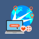 Online charity, donate concept. Flat design. Stock Photo