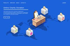 Online charity donation vector website landing page design template. Online charity donation vector website template, web page and landing page design for stock illustration