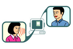 Online Chat. A couple chatting via online chat application Stock Images