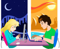 Online chat communication. A US girl  and an Australian  boy are chatting online Stock Images