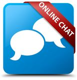 Online chat cyan blue square button red ribbon in corner. Online chat isolated on cyan blue square button with red ribbon in corner abstract illustration Stock Photo