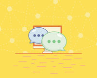 Online chat flat icon on a yellow background Royalty Free Stock Photography
