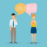 Online chat man and woman. Couple chat on a cell phone. Cartoon Royalty Free Stock Images