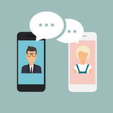Online chat man and woman. Couple chat on a cell phone. Cartoon Stock Photography