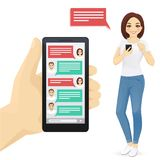 Online chat. Man and woman vector illustration royalty free illustration
