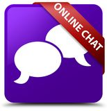 Online chat purple square button red ribbon in corner. Online chat isolated on purple square button with red ribbon in corner abstract illustration Stock Images