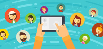 Online chat social network illustration. Online chat social network. People all over the world. illustration. Vector eps 10 Stock Photo
