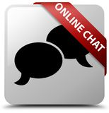 Online chat white square button red ribbon in corner Royalty Free Stock Images