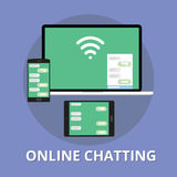 Online chatting chat technology multi platform. With phone notebook and tab Stock Photography