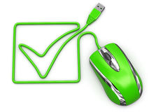 Online checklist. Computer mouse on white isolated background Stock Photo