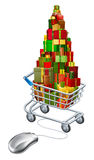 Online Christmas gift shopping Royalty Free Stock Image