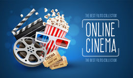 Online cinema art movie watching with popcorn. 3d glasses and film-strip cinematography concept. Eps10 realistic vector illustration Stock Images