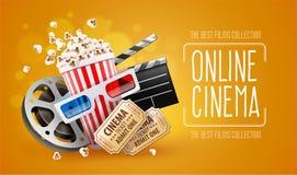 Online cinema art movie watching with popcorn Royalty Free Stock Photo