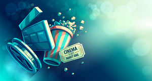 Online cinema art movie watching with popcorn royalty free illustration