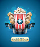 Online cinema art movie watching with popcorn Royalty Free Stock Photography