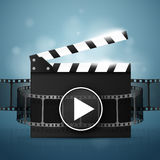 Online Cinema Background With Movie Reel And Clapper Board. Vector Royalty Free Stock Photography