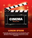 Online Cinema Background With Movie Reel . Vector Flyer Or Poster. Online Cinema Background With Movie Reel And Clapper Board. Vector Flyer Or Poster Royalty Free Stock Photography