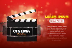 Online Cinema Background With Movie Reel . Vector Flyer Or Poster. Royalty Free Stock Photography