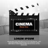 Online Cinema Background. Vector Flyer Or Poster. Online Cinema Background With Movie Reel And Clapper Board. Vector Flyer Or Poster. Illustration Of Film Royalty Free Stock Images