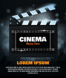 Online Cinema Background. Vector Flyer Or Poster. Online Cinema Background With Movie Reel And Clapper Board. Vector Flyer Or Poster. Illustration Of Film Stock Photo