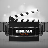 Online Cinema Background. Vector Flyer Or Poster. Online Cinema Background With Movie Reel And Clapper Board. Vector Flyer Or Poster. Illustration Of Film Stock Photos