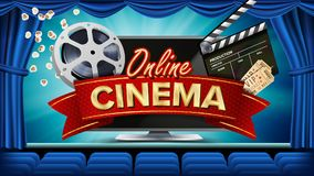 Online Cinema Banner Vector. Realistic Computer Monitor. Movie Brochure Design. Theater Curtain. Template Banner For. Movie Premiere, Show. Marketing Poster Royalty Free Stock Photography