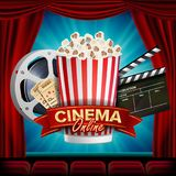 Online Cinema Banner Vector. Realistic. Film Industry Theme. Box Of Popcorn, Elements Of The Movie Theater. Theater. Online Cinema Banner Vector. Realistic. Film Stock Photos