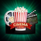 Online Cinema Vector. Banner With Tablet. Cinema Concept Design Template. Cinema Billboard, Signage, Marketing Luxury. Online Cinema Banner Vector. Realistic Royalty Free Stock Photo