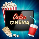 Online Cinema Banner Vector. Realistic Tablet. Popcorn, Drink, Clapping Board. Billboard, Marketing Luxury Illustration. Online Cinema Vector. Banner With Stock Image