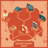 Online cinema color isometric concept icons. Vector illustration, EPS 10 Stock Images