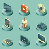 Online cinema color isometric concept icons Royalty Free Stock Image