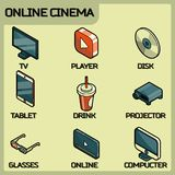 Online cinema color outline isometric icons Royalty Free Stock Image