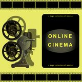 Online cinema, film projector, film, movie library.  Page design for sites, online movies. Vector Illustration Stock Image