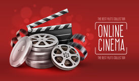 Online cinema with film tape disks in boxes and directors clapper for filmmaking. Online cinema with film movie tape disks in boxes and directors clapper for Royalty Free Stock Photography