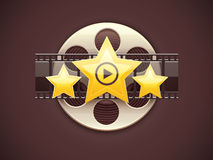 Online cinema icon logo concept with film. Online cinema icon logo design concept with movies disc film tape and golden stars vector illustration Stock Photo