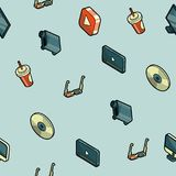Online cinema isometric pattern Royalty Free Stock Images