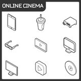 Online cinema outline isometric icons Stock Images