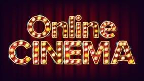 Online Cinema Poster Vector. Cinema Lamp Background. For Theater, Cinematography Advertising Design. Modern Illustration. Online Cinema Poster Vector. Cinema Stock Images