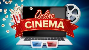 Online Cinema Poster Vector. Modern Laptop Concept. Home Online Cinema.. Online Cinema Banner Vector. Realistic Laptop. Film Industry Theme. Box Of Popcorn Stock Photos