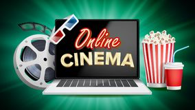 Online Cinema Poster Vector. Modern Laptop Concept. Home Online Cinema.. Online Cinema Vector. Banner With Laptop. Film Industry Elements. Film Tape For Stock Photo