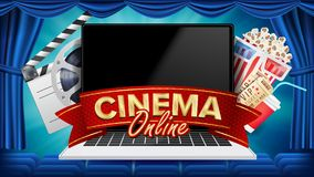 Online Cinema Poster Vector. Modern Laptop Concept. Home Online Cinema. Theater Curtain. Package Full Of Jumping Popcorn royalty free illustration