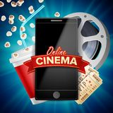 Online Cinema Poster Vector. Modern Mobile Smart Phone Concept. Good For Flyer, Banner, Marketing On Social Network. Online Cinema Banner Vector. Realistic Smart Stock Image