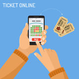 Online cinema ticket order concept. Concepts online cinema ticket order Man holding smartphone vertically in hand and touching buy app, isolated vector flat icon Royalty Free Stock Images
