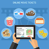 Online cinema ticket order concept. Concepts online cinema ticket order. Man holding tablet pc in hand and touching buy app. flat style icons popcorn, 3D glasses Stock Photos