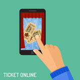 Online cinema ticket order concept. Concepts online cinema ticket order Man touching hand screen smartphone vertically buy app, isolated vector flat icon Stock Image
