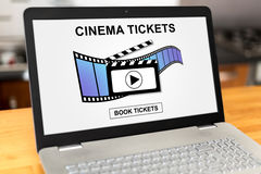 Online cinema tickets booking concept on a laptop. Laptop screen with online cinema tickets booking concept Stock Photos